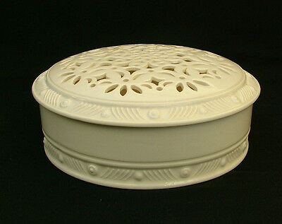 Royal Creamware Occasions potpourri or powder pot with pierced lid