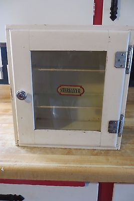 original barbershop or dentist sterilizer wood cabinet glass shelves vintage