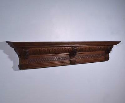 "57"" French Antique Renissance Mantel/Pediment/Crest Oak Wood with Lions"