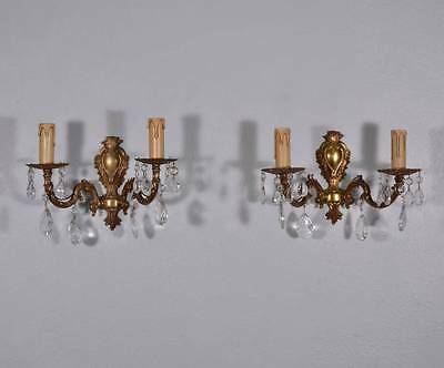 Pair of Vintage French Louis XV Bronze & Crystal Wall Sconces/Candelabra