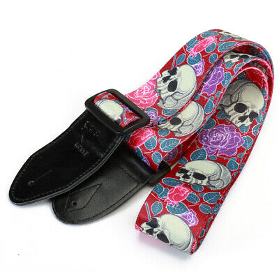 Guitar bass Strap Leather Head Acoustic Electric Classical Adjustable skull rose
