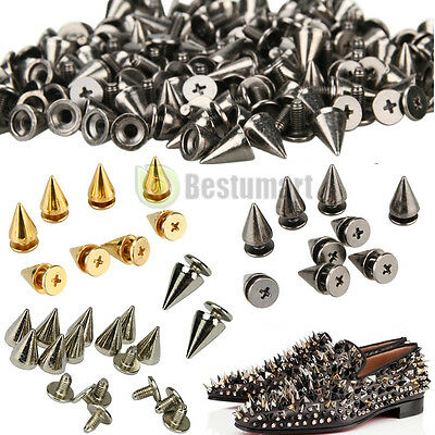 200 PCS Trendy 10MM Silver Spots Cone Screw Metal Studs Rivet Bullet Spikes DIY