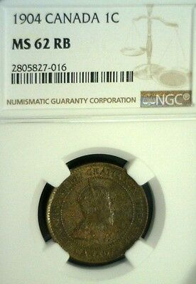 1904 Canada Large Cent Ngc Ms62 Rb   Reduced 9/9/19   (1508Nam)