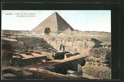 formidable CPA Cairo, view of the temple, pyramid & sphynx