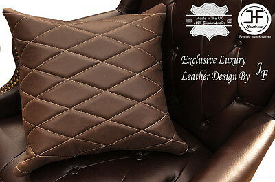 "1X EXCLUSIVE LUXURY LEATHER CUSHION DISTRESSED BROWN DIAMOND PADDED 18""x18"""