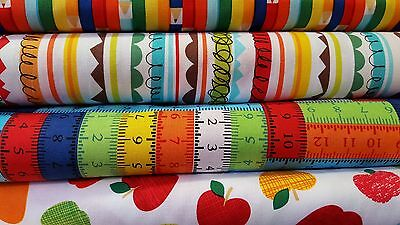 Bright & Fun Childrens Cotton Patchwork Fabric - 4 Variations