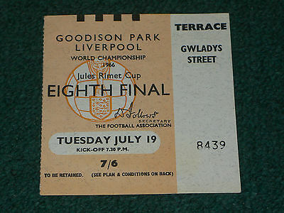 Ticket 1966 World Cup - PORTUGAL v. BRAZIL (at Everton FC)