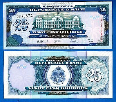 Haiti P-266 25 Gourdes Year 2014 Uncirculated FREE SHIPPING