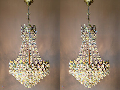 Sale Matching Pair Antique French Vintage Crystal Chandelier Lamp Old Lighting
