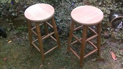 Pr Of Vintage Beech Circular Kitchen Bar Stools Turned Supports Stretchers £50!