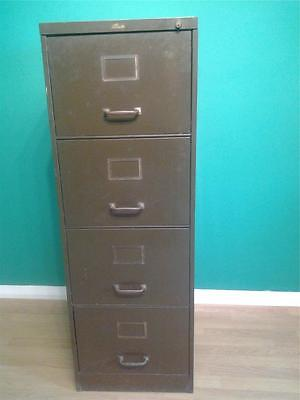 Retro industrial green metal four drawer filing cabinet brass fittings