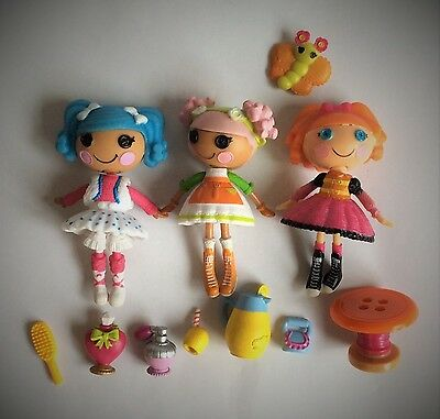 3 x LALALOOPSY MINI FIGURES & ACCESSORIES – PLAYSET/ CAKE TOPPERS