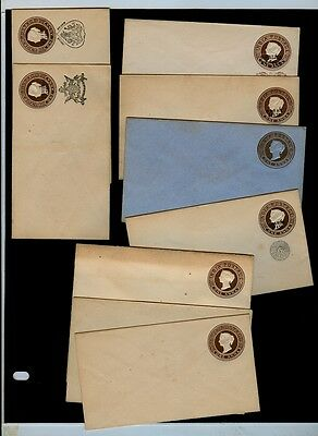 *9* Early 1900s early unused postal stationery entires incl. state surcharges