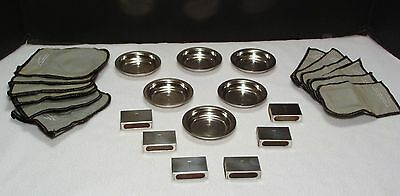 Vintage Black Starr & Gorham Sterling Set Of 6 Ashtrays & Match Box Holders*wow!