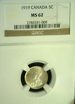 1919 Canada Silver Five Cents Ngc Ms62    Reduced 4/10/18    (1520Nam)