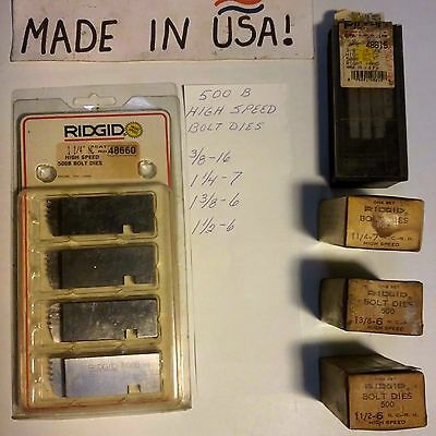 500 B RIDGID High Speed Bolt Die Inserts - NEW - **(Choice of Size Listed)** USA