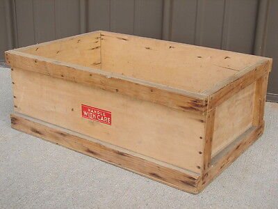 """Vintage Wood Wooden Box Crate """"Handle With Care"""" Storage Recyclables"""