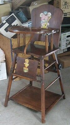 Convertible High Chair Desk Combo, Vintage Wooden