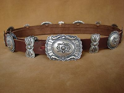 Native American Jewelry Stamped Sterling Silver Concho Belt Eugene Charley
