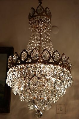 Antique Vnt.Big French Basket Style BOHEMIA Crystal Chandelier Lamp 1940's.15in.