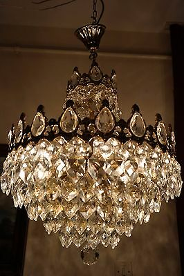 Antique Vintage LARGE French Basket Style Crystal Chandelier Lamp 1940's 16 in