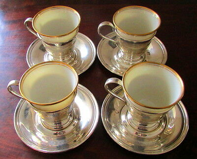 4 Antique Wallace Sterling Demitasse Saucers & Cup Holders W/ Lenox Cups X-Cond