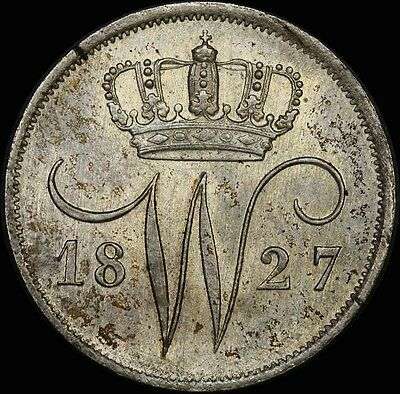 Netherlands 1827 Silver 10 Cents KM#53 Choice Unc