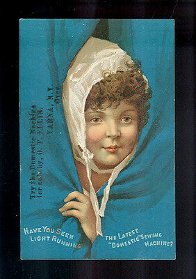 Girl Peeks Out From Behind Blue Curtain-1880s Victorian Trade Card