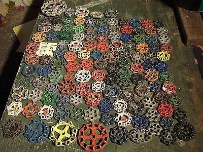 Lot  125 Vintage Water Faucet Knobs Valve Handles STEAMPUNK Industrial Cast Iron