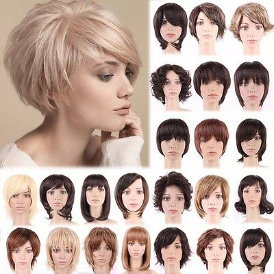Dark Brown Blonde Short Wig Natural Curly Straight Wavy Full Head Wigs Cosplay A