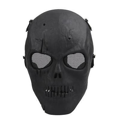 Skull Skeleton Full Face Mask Tactical Paintball Airsoft Protetive Safety Black