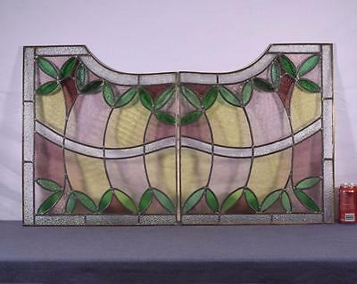 Pair of Antique French Stained Glass Panels with Leaded Glass