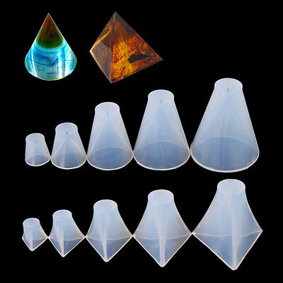 Pyramid Cone Shape Clear Silicone Mold Jewelry Making Tools DIY Crafts Ornament