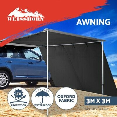 3M X 2.5M Car Side Awning Roof Rack Tents Shades Camping 4X4 4WD Grey