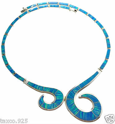 Taxco Mexican 950 Sterling Silver Blue Opal Necklace Mexico