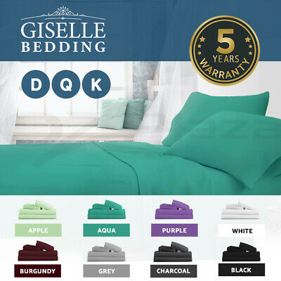 Giselle Bed Sheets Queen King Double Microfibre Sheet Bedding Set Fitted Flat