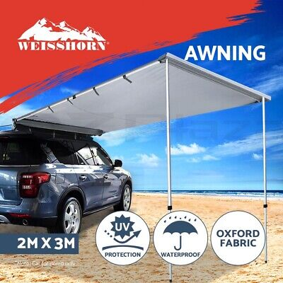 3M X 2M Car Side Awning Roof Rack Tents Shades Camping 4X4 4WD Grey