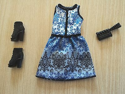 Barbie Fashionistas Blue and  Black Dress, great peeptoe boots and a clutch bag