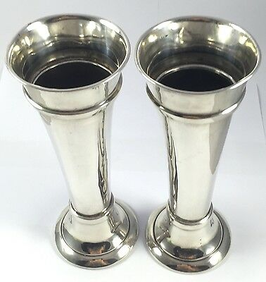 Lovely Solid English Sterling Silver Pair Of Large Vases 1918 494g