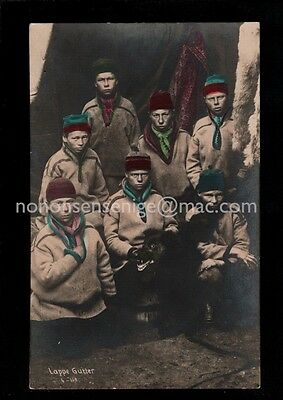 NORWAY NORGE - LAPPE GUTTER Boys & Dog REAL PHOTO POSTCARD E20C - NO22