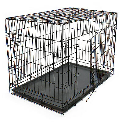 Hunde Transportbox klappbar Kennel Gittertransportbox Drahtkäfig Haustier L