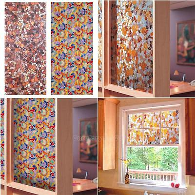 3D Static Cling Stained Glass Paper Frosted Decorative Home Window Film Privacy