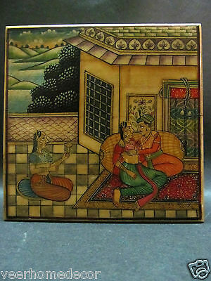 Mughal King Queen Fine Hand Painted Miniature Trinket Camel Bone Collection Box