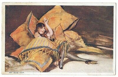 Glamour Postcard by Barribal, My Dug Out, Pretty Girl Nylons in Cushions