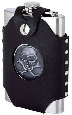 Skull & Crossbones 8 oz Stainless Steel Alcohol Flask Screw Cap Pocket Liquor