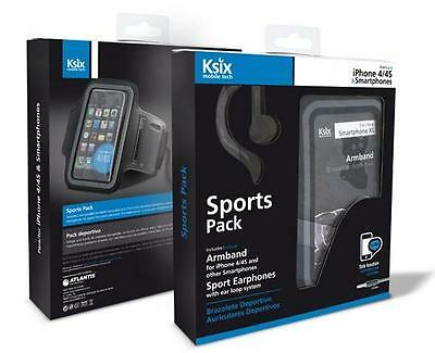Ksix Sport Pack Headphones + Armband Iphone 4/4s   Accesorios móvil