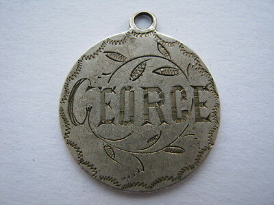 Victoria silver 2 Annas from India engraved GEORGE as love token