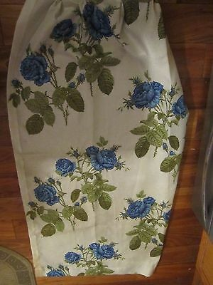 "SET OF 4 VINTAGE PLEATED CURTAIN PANELS FLOWER. BLUE ROSES. 28"" X 62"". 1950s MCM"