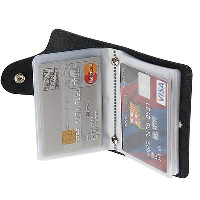 MENS LUXURY SOFT BLACK PU LEATHER CREDIT DEBIT ID CARD HOLDER WALLET PURSE New