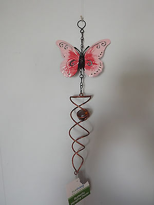 Painted Metal Butterfly W/Glass Twirling Ball Hanging IN/OUTDOORS yard/garden